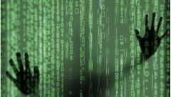 shadow hands on digital green wall