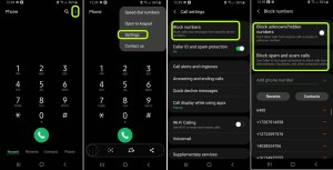 how to disable blocked numbers - calls going directly to voicemail - samsung
