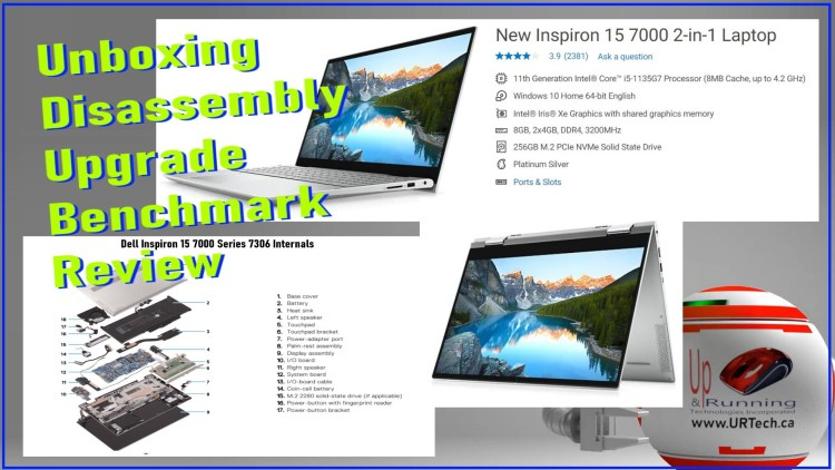 Dell Inspiron 15 7000 7306 unboxing setup disassembly benchmark upgrade review