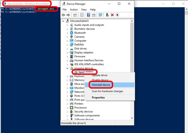 how to remove hardware devices using cmd line device manager