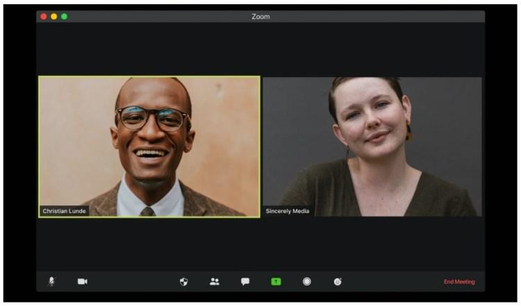 zoom call on mac black male white female meeting