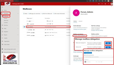 how to delegate access to a shared mailbox on Microsoft 365 Exchange mail