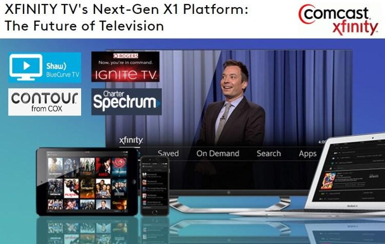 comcast x1 plaform xfinity tv - shaw bluecurve tv - cox contour tv - rogers ignite tv - charger spectrum