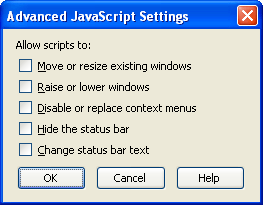 Screen shot of Mozilla Firefox Advanced JavaScript Settings dialog with all options unchecked