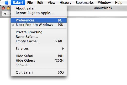 Screen shot of Apple Safari's Safari menu with Preferences option highlighted
