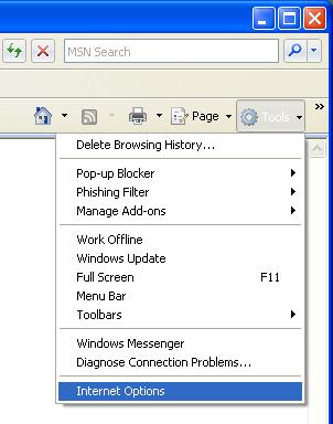 Screen shot of Internet Explorer Tools menu