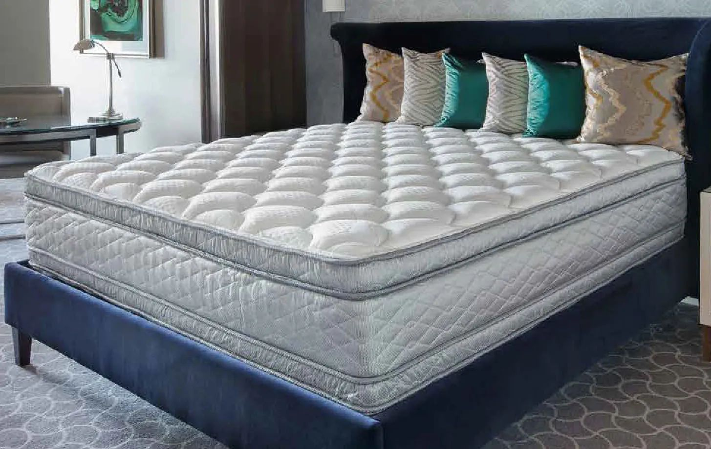 king serta perfect sleeper hotel sapphire suite ii plush pillow top double sided 14 25 inch mattress