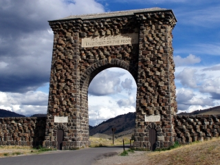 The Roosevelt Arch. Welcome to Yellowstone NP. For the Benefit and Enjoyment of the People