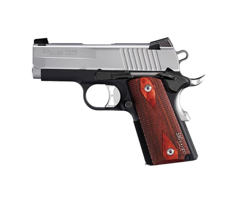 Sig Sauer 1911 Ultra-Compact Two Tone pistol for sale. It's a great concealed carry 1911 and a stunning handgun with a high price.