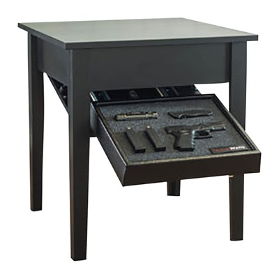 Tactical walls concealment end table. A hidden gun safe that should be within reach in the lounge.