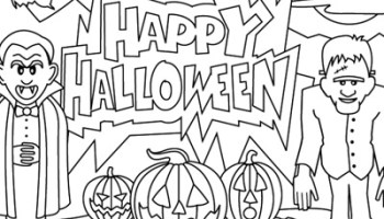 Happy Halloween Coloring Pages Printable Free For Kids Toddlers Kindergarten Preschoolers Adults