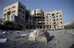 Books and papers lay strewn across the ground after Israeli forces  bombed the Islamic University of Gaza overnight on August 2, 2014  in Gaza City. (AFP Mahmud Hams)