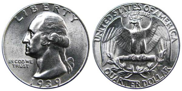 1939 Washington Silver Quarters: Value and Prices