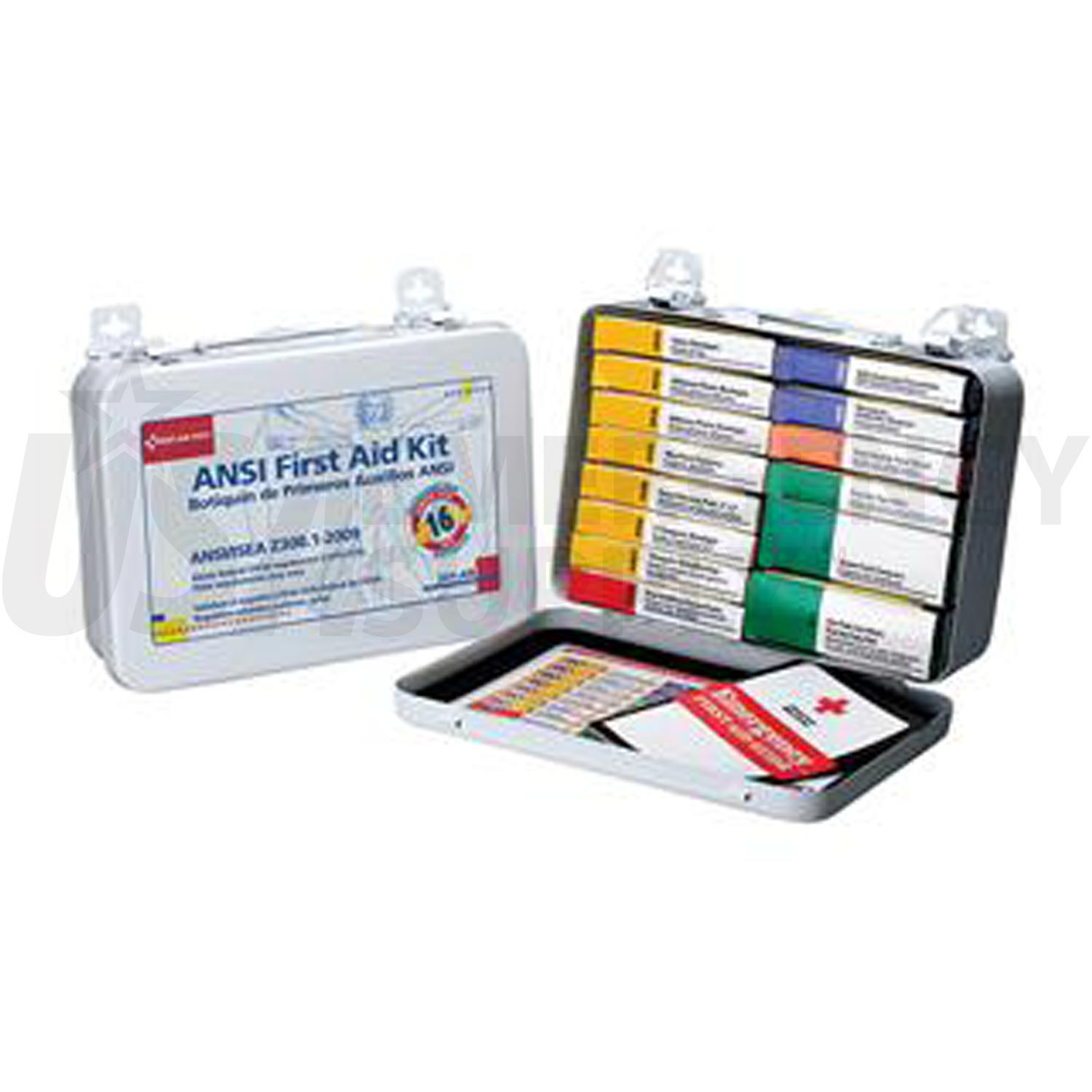 Unitized First Aid Kit Ansi 16 Unit Metal Case With Gasket