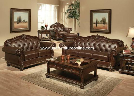 Anondale Top Grain Leather Sofa Set