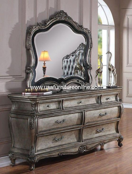 Chantelle Dresser Granite Top Antique Platinum