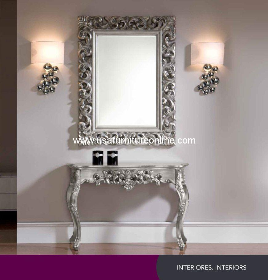 Esf furniture silver console table and mirror usa furniture online zoom images geotapseo Image collections
