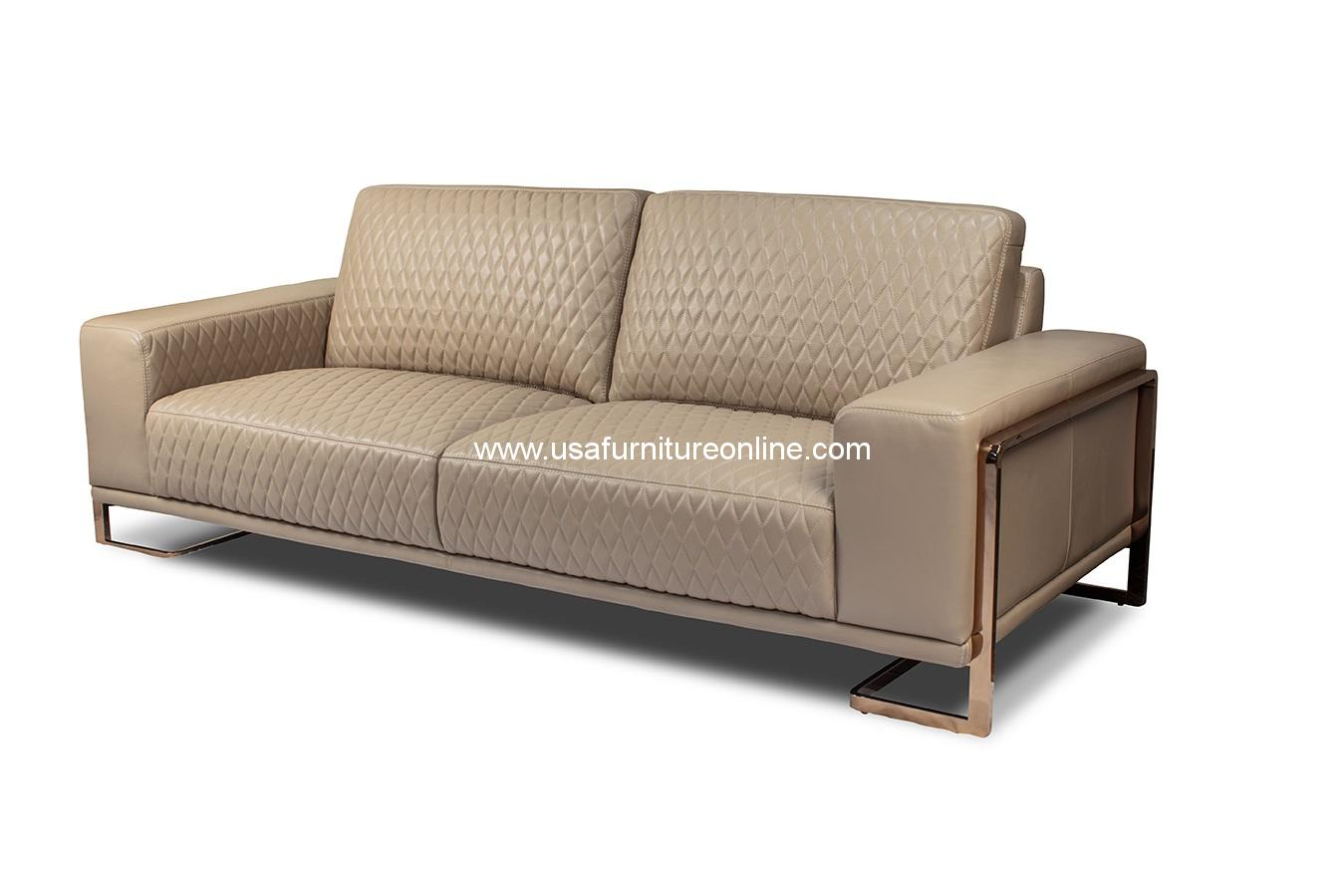Pleasing Gianna Peach Leather Loveseat Rose Gold Leg Pabps2019 Chair Design Images Pabps2019Com