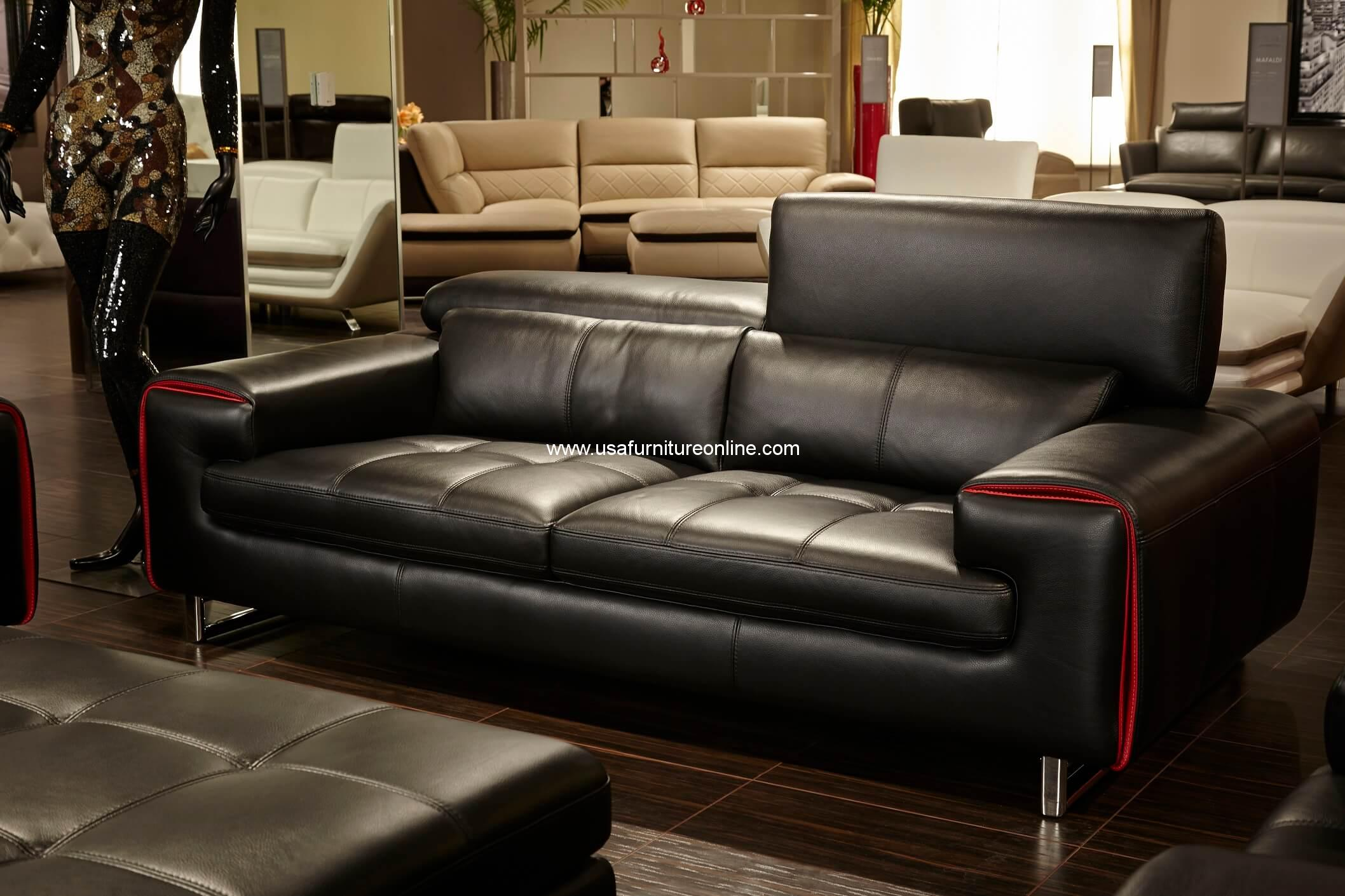Magrena Black Leather Sofa With Red Trim