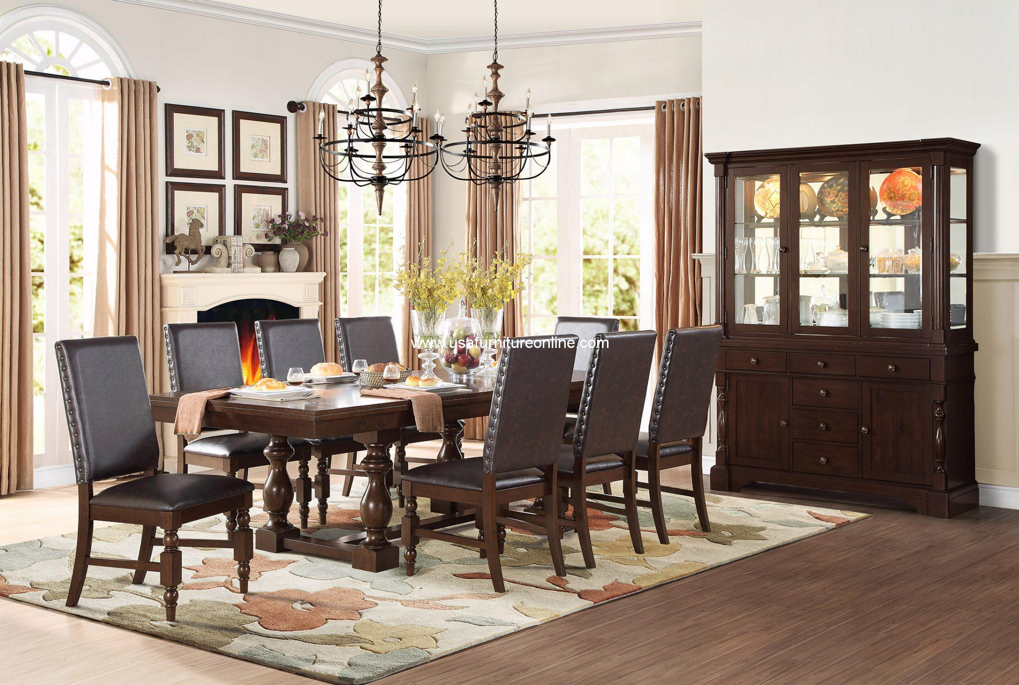 9-Pc Yates Cottage Style Trestle dark oak table top Dining Set