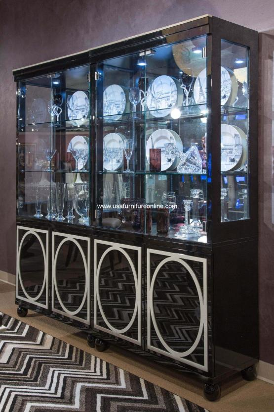 Sky Tower Black Onyx Curio Cabinet