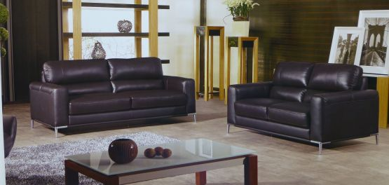 Respiro Italian Dark Chocolate Leather Sofa Set