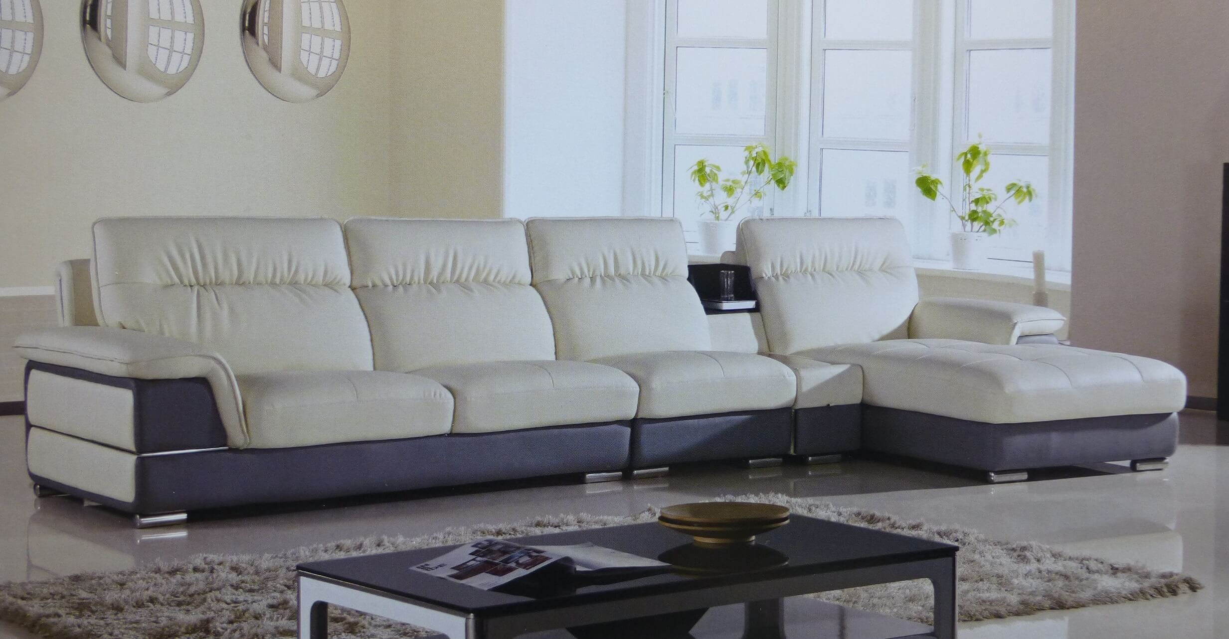 4 piece hover ivory gray leather sectional