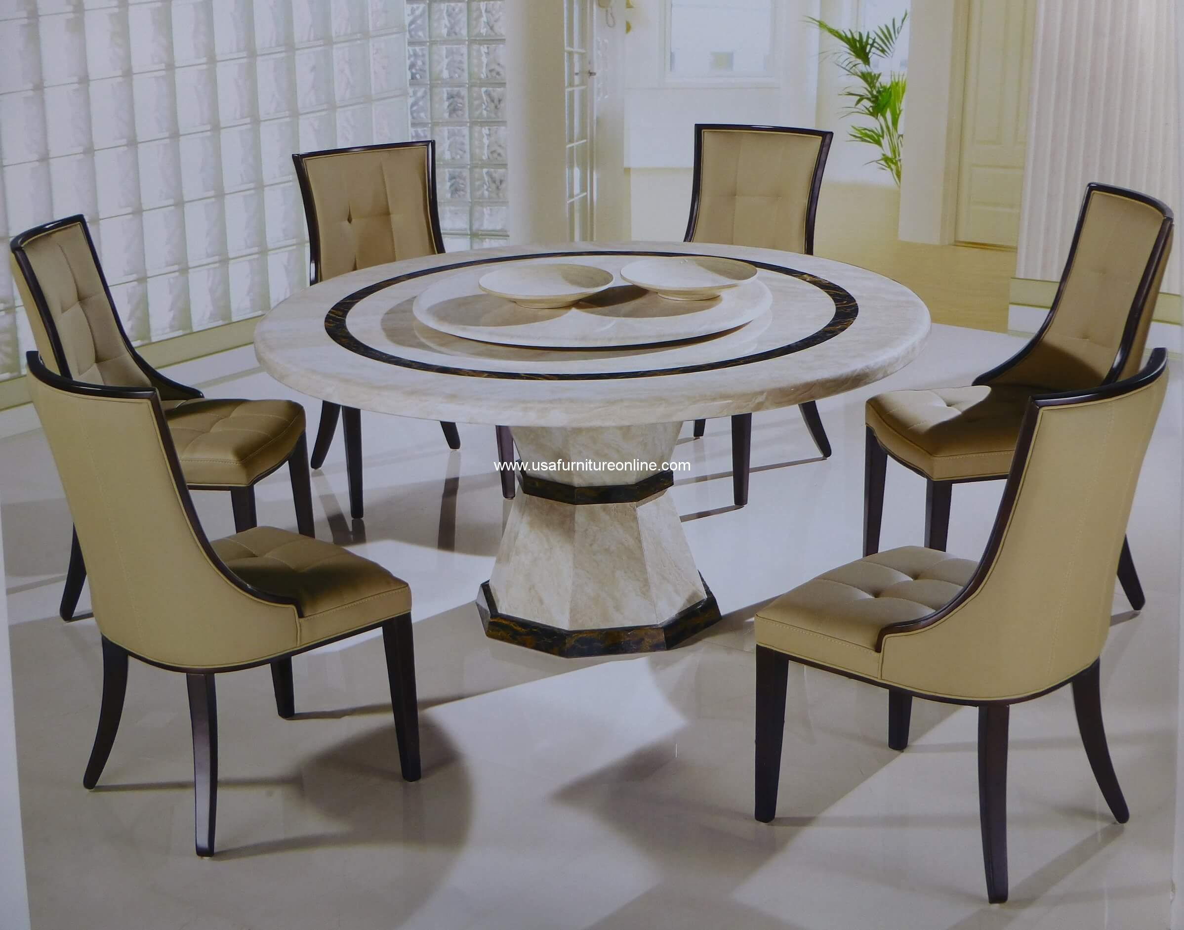 Canberra Italian Marble 7 Piece Round Dining Set Usa Furniture Online