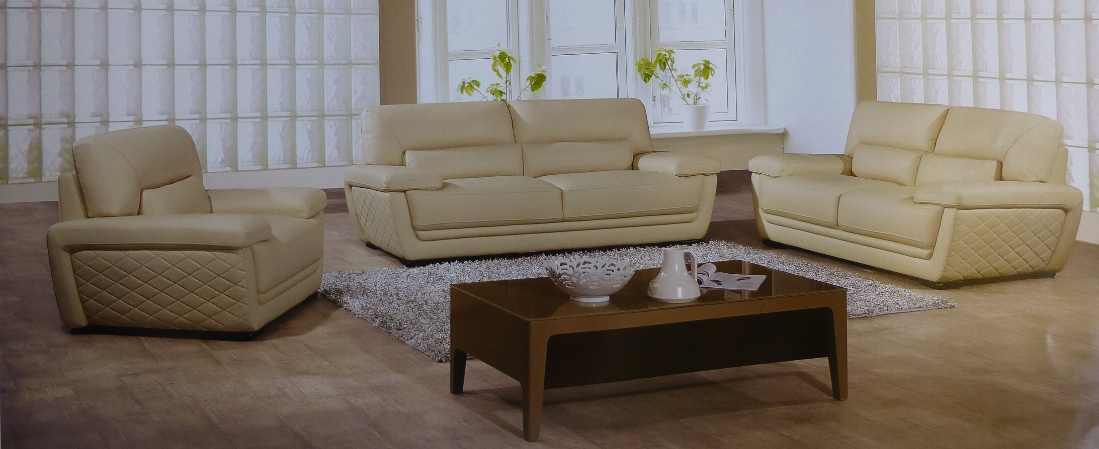 Clark Italian Cream Leather Sofa Set
