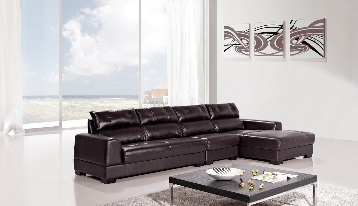 Diva Genuine Dark Brown Leather Sectional Usa Furniture Online