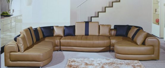 Tenore Camel Leather Sectional Sofa