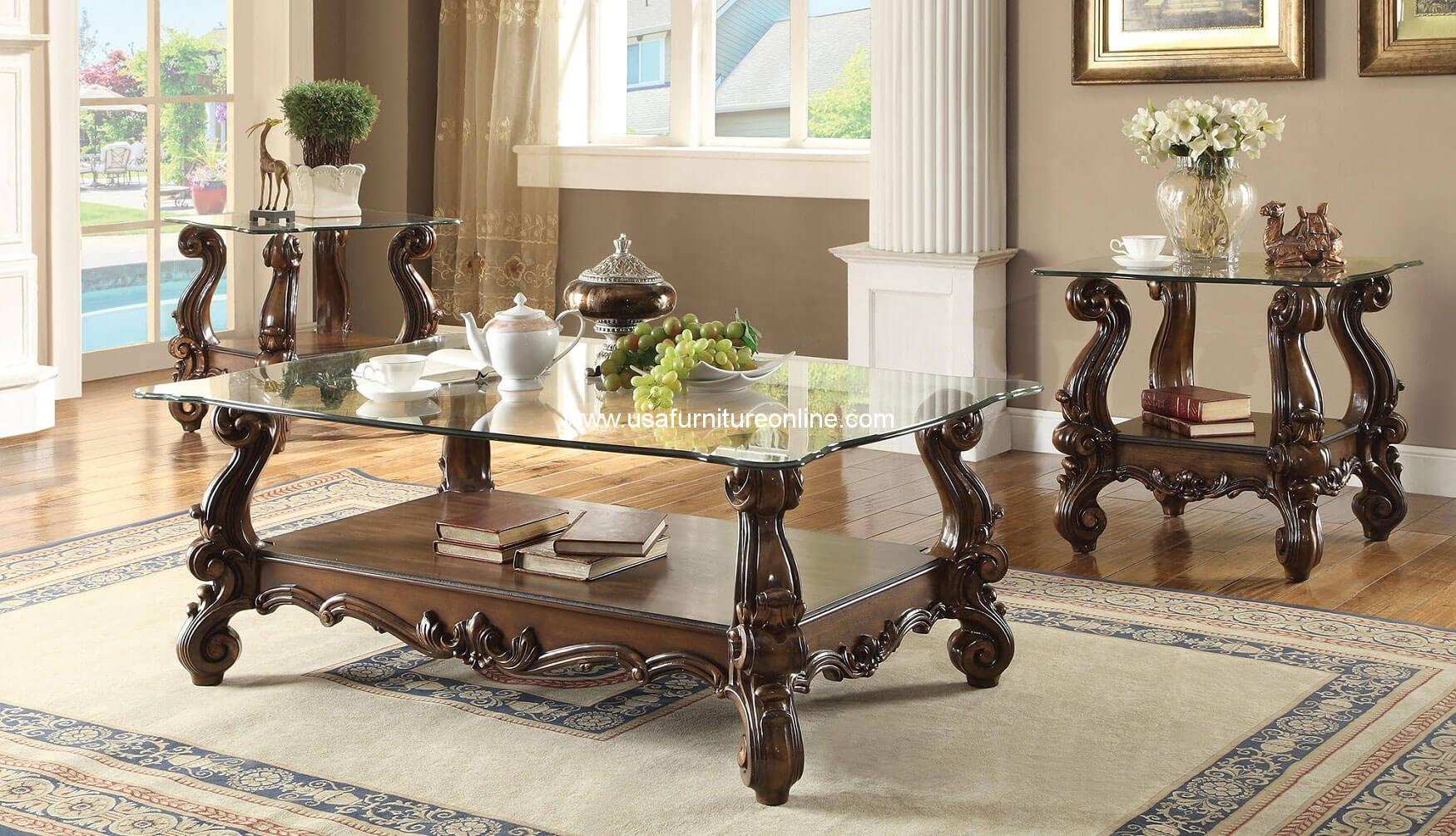 3 piece acme versailles glass top coffee table set cherry oak finish
