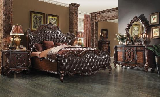 Versailles Bedroom Set Upholstered dark Brown