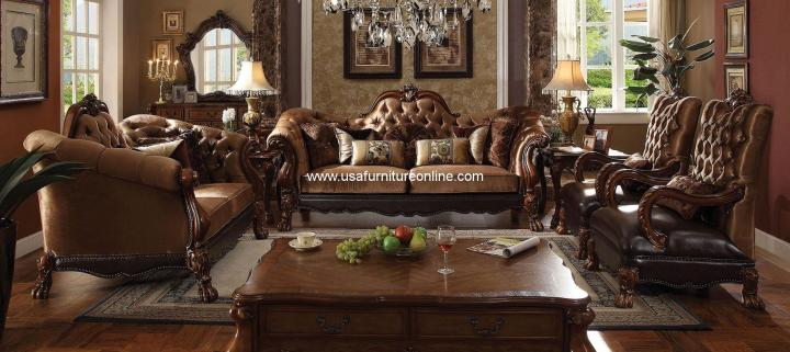Dresden Golden Brown Velvet Living Set