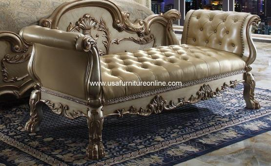 Dresden Bed Bench Gold Patina Finish
