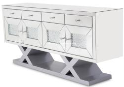 Mirrored Accent Sideboard With Crystals AICO