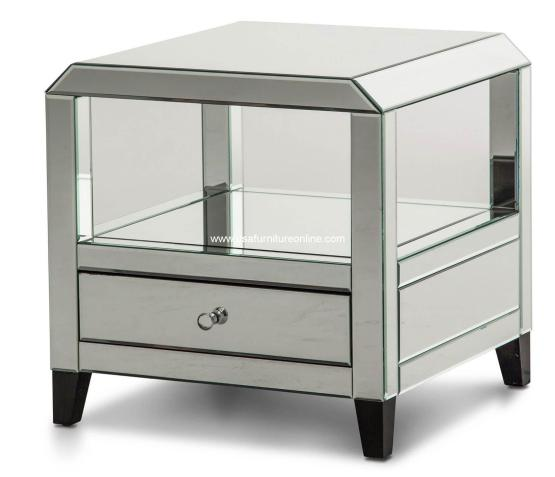 Mirrored Square Accent Table With Drawers