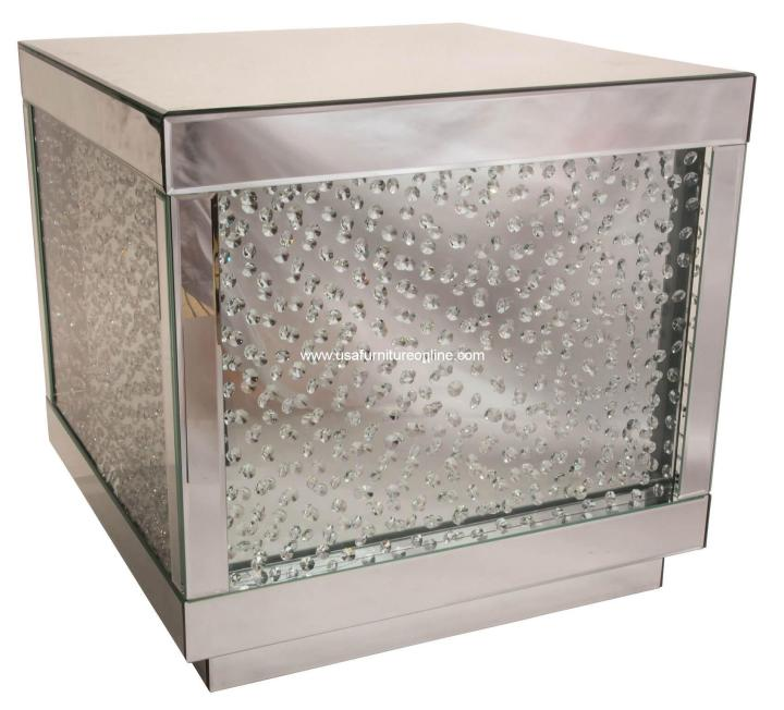 Silver Mirrored End Table With Crystals AICO