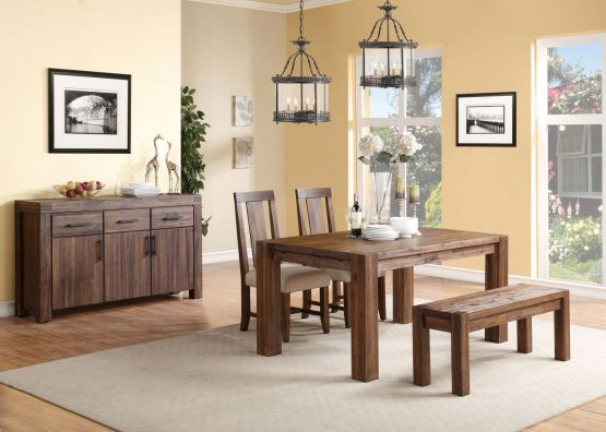 4 Piece Meadow Solid Wood Panel Back Chair Dining Set