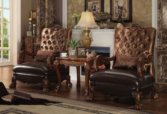 Dresden 3 Piece Accent Chair End Table Golden Brown Velvet