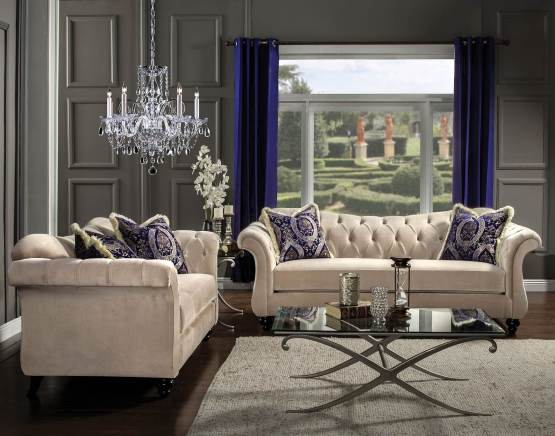 2 Piece Antoinette Light Mocha Tufted Sofa Set