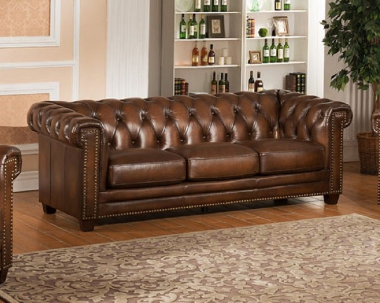 Stanley Park 100% Full Leather Tufted Sofa