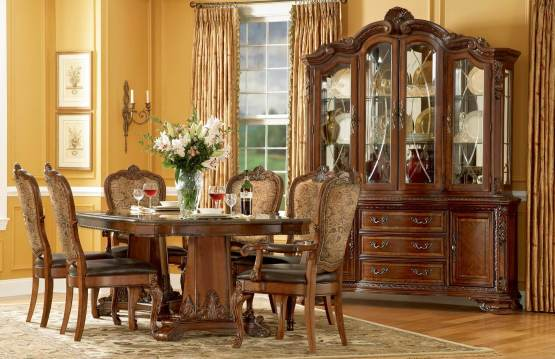 Old World Double Pedestal Dining Set