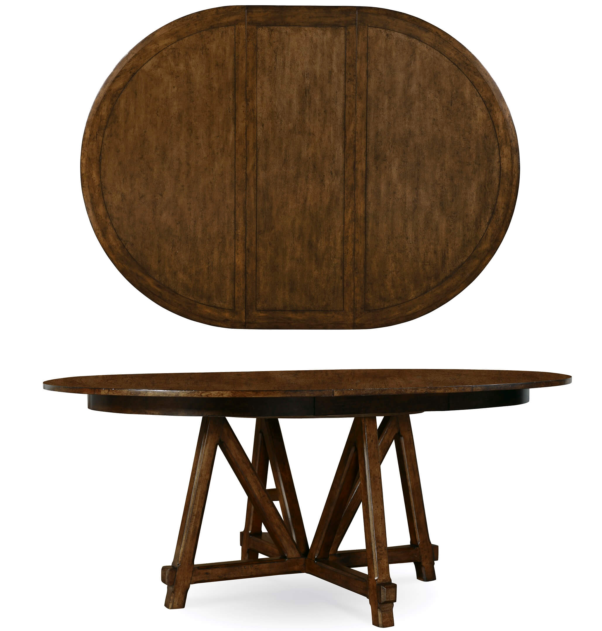 Echo Park Trestle Round To Oval Dining Table By ART - Oval trestle dining table