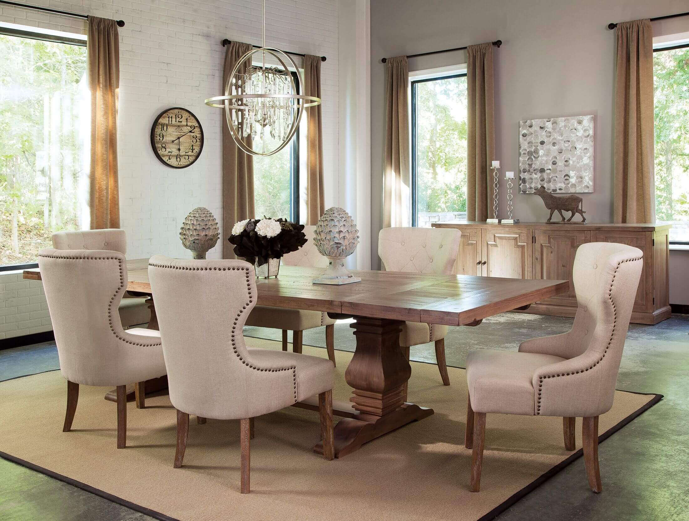 Florence Rustic Smoke Extendable Dining Set