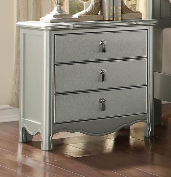 Toulouse 3 Drawer Nightstand Silver Finish