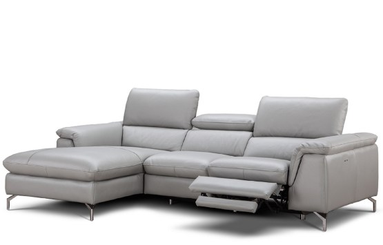 J&M Serena Premium Grey Leather Sectional