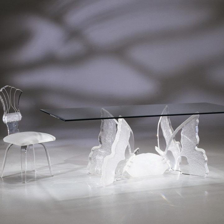 Clear Acrylic Butterfly II Rectangular Dining Table