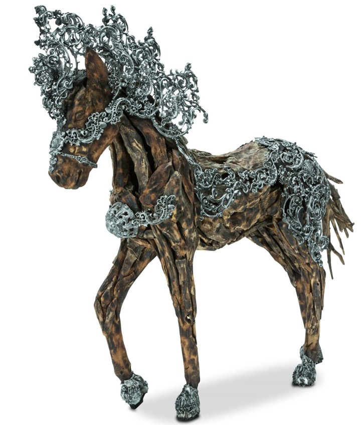 Trojan Wood Crafted Horse Metal Body