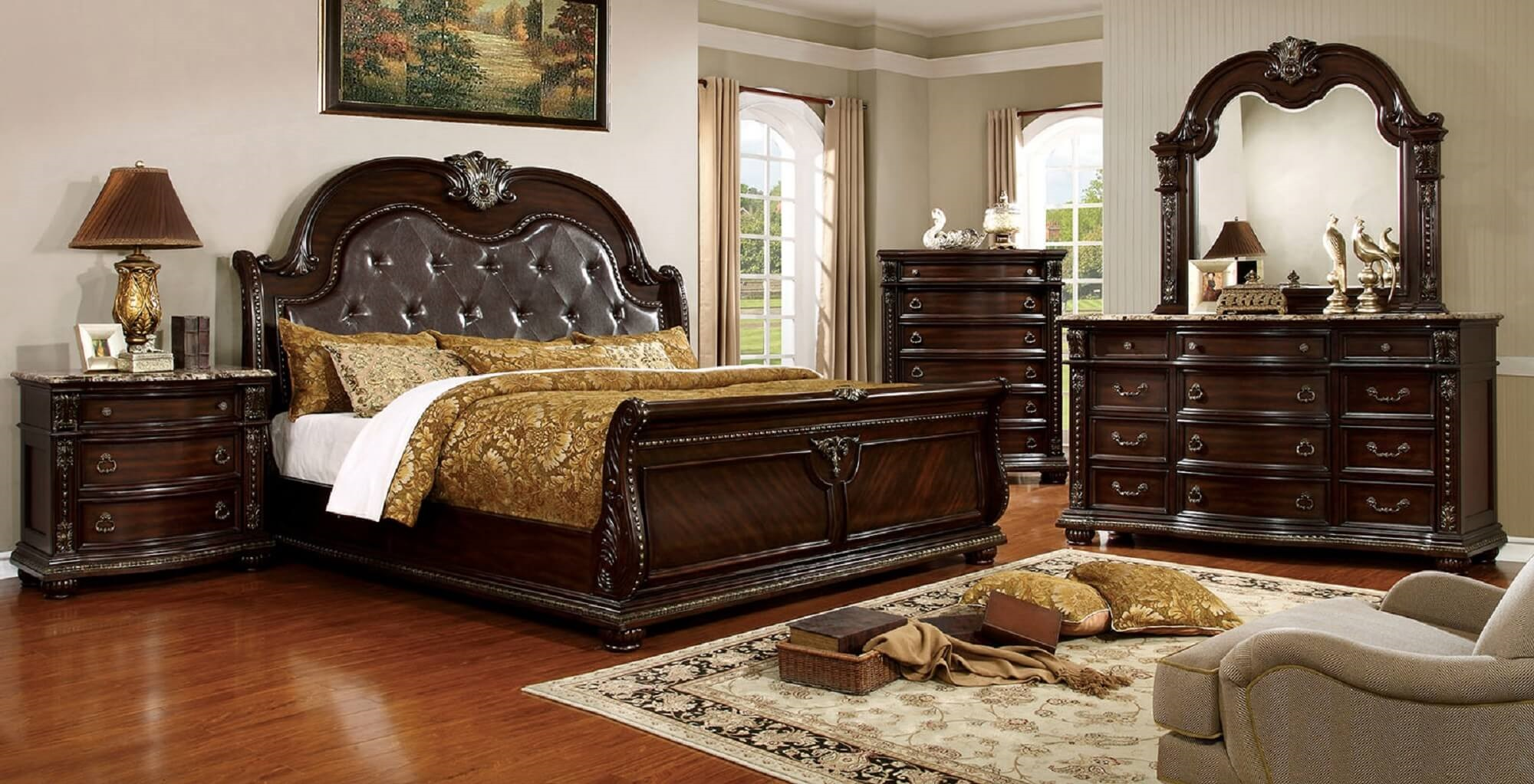 Fromberg Nightstand Marble Top Brown Cherry Finish